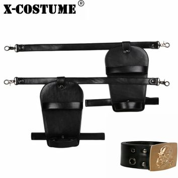 X-COSTUME Lara Croft Belt Black & Golden Game Tomb Raider Cosplay Costume Accessories PU leather Belt for Women Party Show