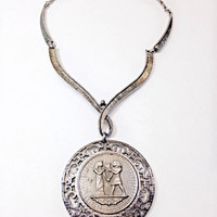 Egyptian Themed Choker Vintage Silvertone Necklace Large Round Medallion