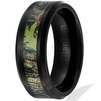 8MM Titanium Ring Wedding Band Black Plated with Camouflage Inlay Beveled Edges