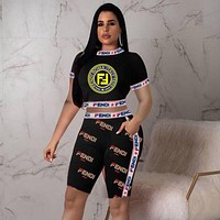 FENDI Newest Hot Sale Woman Fashion Print Short Sleeve Top Shorts Set Two Piece Sportswear