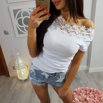 DeRuiLaDy Women Beading Lace T Shirt Sexy Off Shoulder Short Sleeve Slim Black White T-Shirts Tees Casual Summer Cotton Top 2018