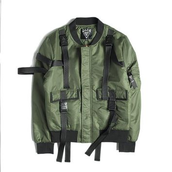 JACKET Men's Strap Flying Bomber Thick Punk Rock Style Jacket