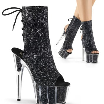 Black Glitter Stripper Ankle Boot | Sassy Assy Clubwear