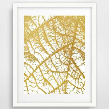 Gold Leaf Art, Leaf Print, Gold Wall Art, Leaf Poster, Digital Download, Home Decor, Housewarming Gift, Leaf Wall Decor, Leaf Skeleton,