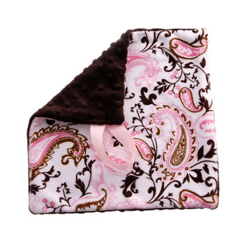 BbEmerald - Soft Pacifier Binky Baby Pink Paisley Blanket
