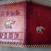 Bama Roll Tide Leather Vintage Hand Tooled Wallet Western Style  Alabama Elephant 60s BiFold with Money Holder Clip