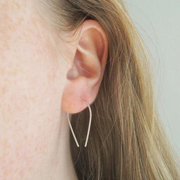 14K Rose Gold Filled Teardrop Open Hoops, Arc Earrings