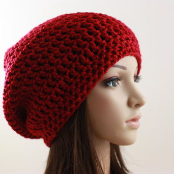 Crochet Slouchy Hat Adult Beanie Hat Red Burgundy Women's Slouchy Autumn Hat