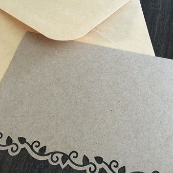 Blank Note Card. Handmade Thank You Card. Ivy die cut note cards. Kraft thank you card. Kraft envelope. Bridesmaids gift. Appreciation gift.