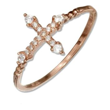 Sterling Silver Rose Colored Micro Pave Cubic Zirconia Sideways Cross Ring