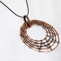 Artisan Woven Circles Copper Pendant with Woven by NeroliHandmade