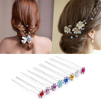 5pcs/lot Elegant Chic Rhinestone Hairpin Colorful Rose Flower Fork Hair Clips Women Hair Accessories For Wedding Decor P0.2