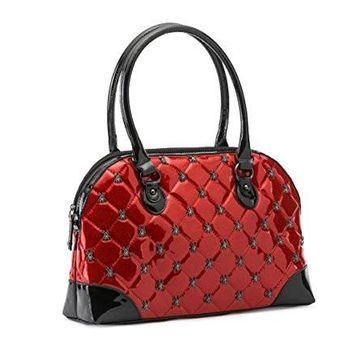Rock Rebel Lucy Quilted Hand Bag Purse Spiders Accent
