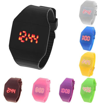 Coloful Touch Screen LED Sport Watches Rubber Band Rectangle Shaped Wristwatch = 1843003268