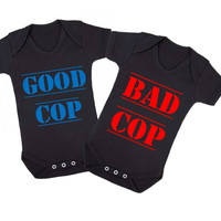 Good Cop Bad Cop Matching Twins Baby Onesuits