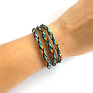 Kumihimo Wrap Friendship Bracelet -Orange and Teal with black diamonds Pattern