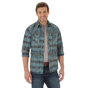 Wrangler Retro Men's Long Sleeve Snap Shirt Jade/Blue