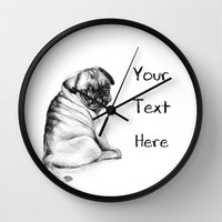 PUG WALL CLOCK, Personalized wall clock, white home decor, white clock