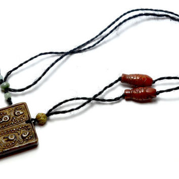 Mother of the Fire Dragons Carved Dark Red Jade Amulet Talisman Necklace, Himalayan Jade Both Sides Carved Pendant 53x37x7 mm