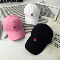 Sweet Rose Flower Embroidered Baseball Cap Hats
