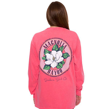Magnolia Bayou Long Sleeve Tee in Watermelon by The Southern Shirt Co.