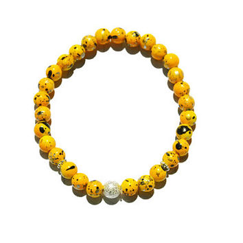Stretchy Bracelet, Boho, Bead Bracelet, Gold Bracelet, Yellow, speckles,Colorful Bracelet, stacking bracelet, Acrylic, M 7 inch stretchy