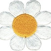 Daisy Flower - White with Yellow Center - Embroidered Sew or Iron on Patch
