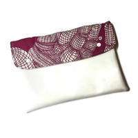 White vegan clutch with pink, vegan ipad case, ipad cover