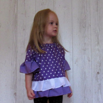 Peasant blouse , toddler peasant top, purple toddler peasant Dress , Peasant Top , Handmade Dress ,  toddler dress