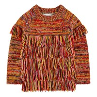STELLA MCCARTNEY - Tangerine Woolen Jumper Fringed Sweater