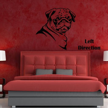 Adorable Pug side view decor vinyl wall decal, dog animal lover black pug fawn pug cute puppy wall sticker, gift ideas DYI projects, crafts