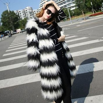 Kim Striped Faux Mink Coat