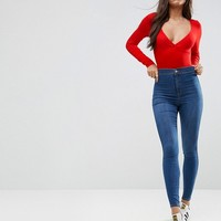 ASOS Body With Plunge Neck Long Sleeve And Thong at asos.com