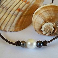 Quality White/ Peacock or All Peacock Pearl on AA Leather Necklace/Choker