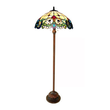 "CHLOE Lighting DULCE Tiffany-style 2 Light Victorian Floor Lamp 18"" Shade"