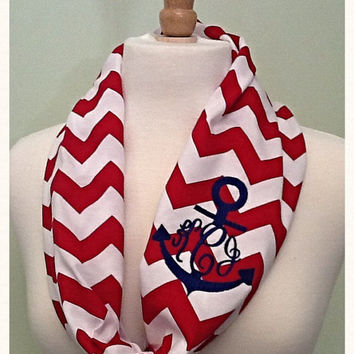 Monogram Anchor SHORT Infinity Scarf Wraps Once Lightweight Spring/Summer