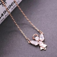 Hcxx 19Oct 541 Fashion Jewelry Swarovski Little Angel Clavicle Necklace