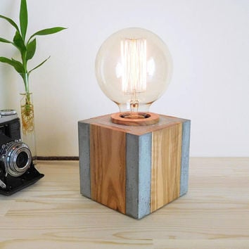 Geometric concrete and wood table lamp, cement edison lamp with dimmer vintage edison light bulb, handcrafted bedside beton lamp, mens gift