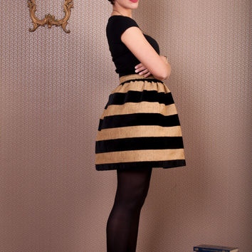 High waist velvet striped puffy skirt, black velvet stripes skirt, puffy skirt
