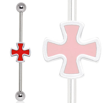 316L Surgical Steel Celtic Cross Industrial Barbell