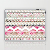 Aztec Spring Time! | Girly Pink White Floral Abstract Aztec Pattern Laptop & iPad Skin by Girly Trend