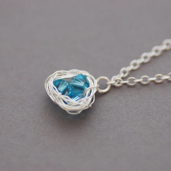 Blue Bird's Nest Necklace, Silver-Plated Aquamarine Swarovski Crystal Necklace, Gift for Her