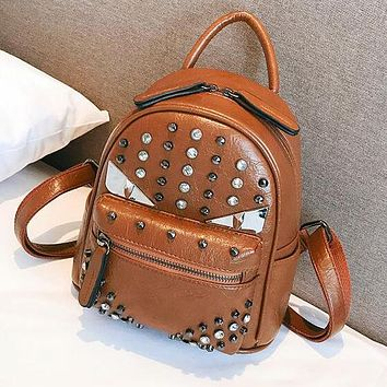 FENDI Popular Women PU Leather Rivet Shoulder Bag Backpack Daypack Brown