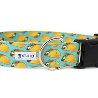 Boy Dog Collar, Girl Dog Collar, Taco Dog Collar, Food Dog Collar, Funny Dog Collar, Taco Lover (Upgrade to Metal Buckle or Martingale)