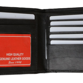 Hipster Genuine Leather Bifold Middle ID Flap Wallet 1501 (C)