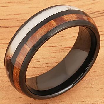 Koa Wood Ring  Antler Style Black Tungsten Wedding Ring 8mm Barrel Shape