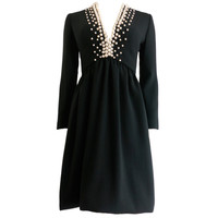 Vintage DONALD BROOKS Pearl beaded black crepe dress