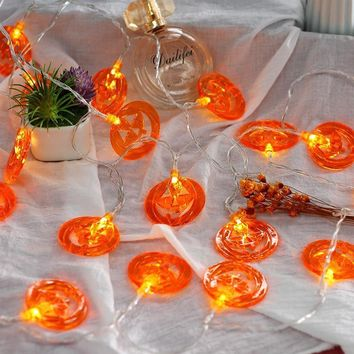 Halloween Pumpkin String Light 3D Pumpkin 20-LED 2.5m Battery Operated Party Props