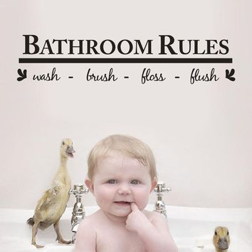 Bathroom Rules-wash-brush-floss-flush