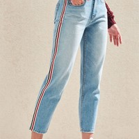 Preppy Stripe Vintage Icon Mom Jeans | PacSun